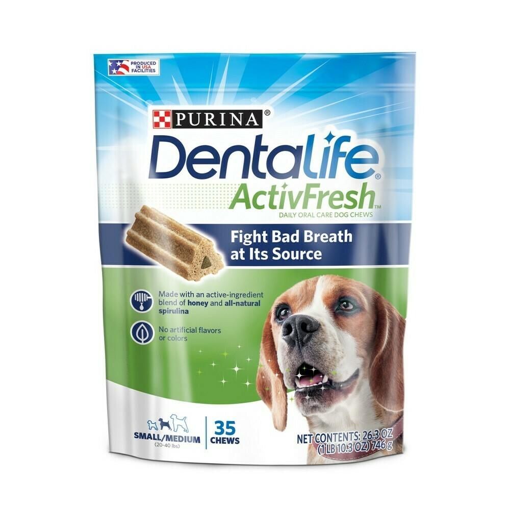 Purina Dentalift Dog Dental Treats Chews, small & Medium Dogs 25 ct 26.3 oz (12/19) (A.J1)
