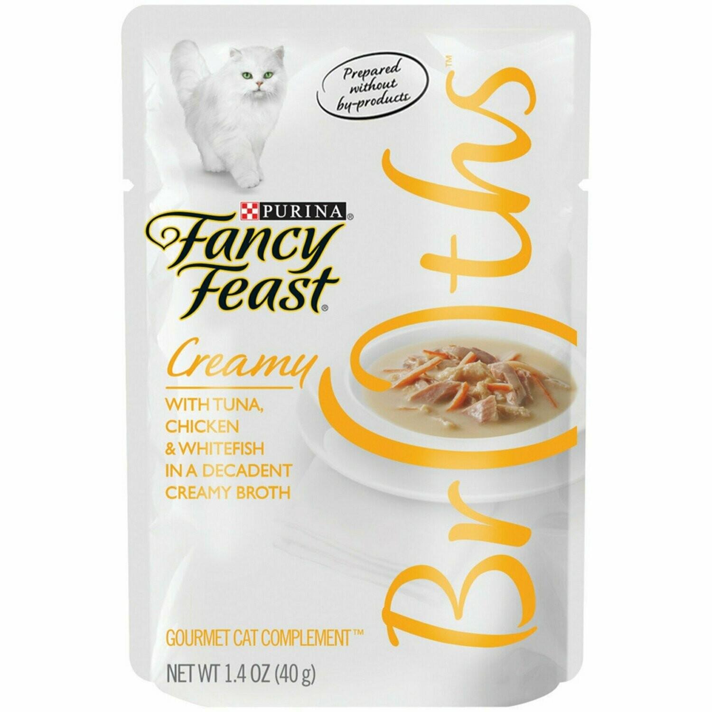 Purina Fancy Feast - Creamy Tuna, Chicken & Whitefish Broth Cat Food 1.4 oz 16 count (1/20) (A.K3)