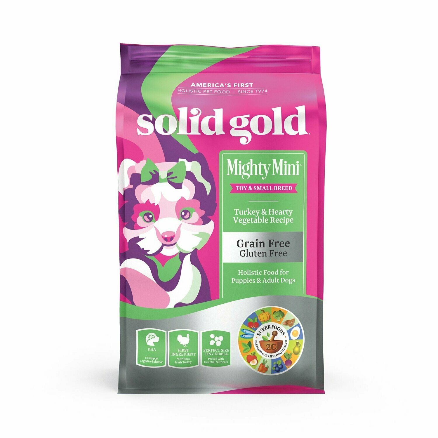 Solid Gold Grain Free Mighty Mini Turkey & Hearty Vegetable Dry Dog Food, 11 lbs (9/19) (A.E2)