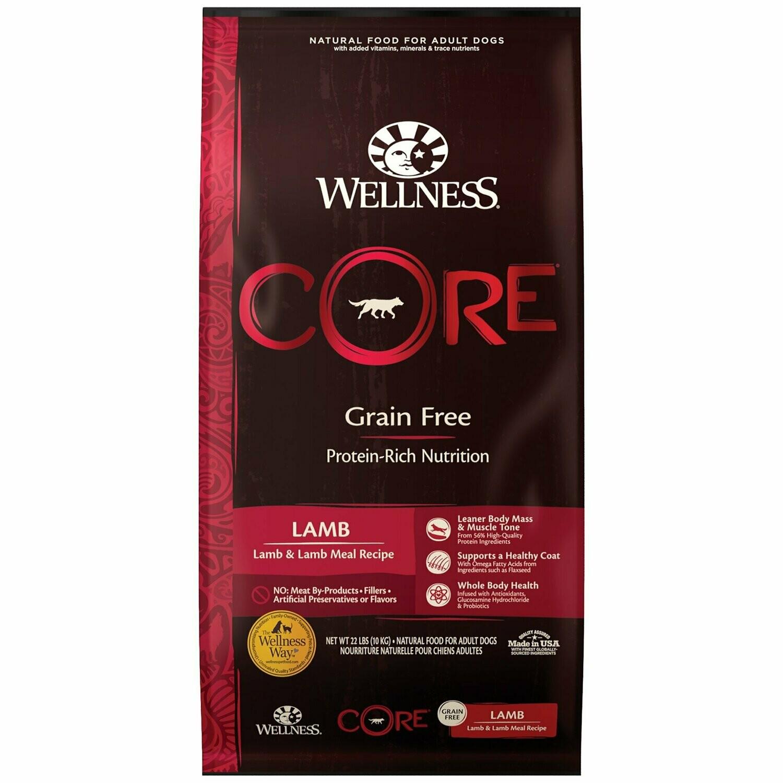 Wellness CORE Lamb Natural Grain Free Dry Dog Food, 22 lbs. (10/19) (A.N8)