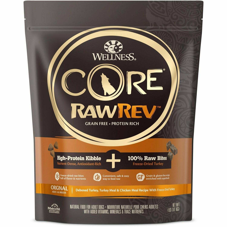Wellness CORE Raw Rev Natural Grain-Free Original Turkey & Chicken Dry Dog Food 4 lbs (6/20) (A.N5-JD)
