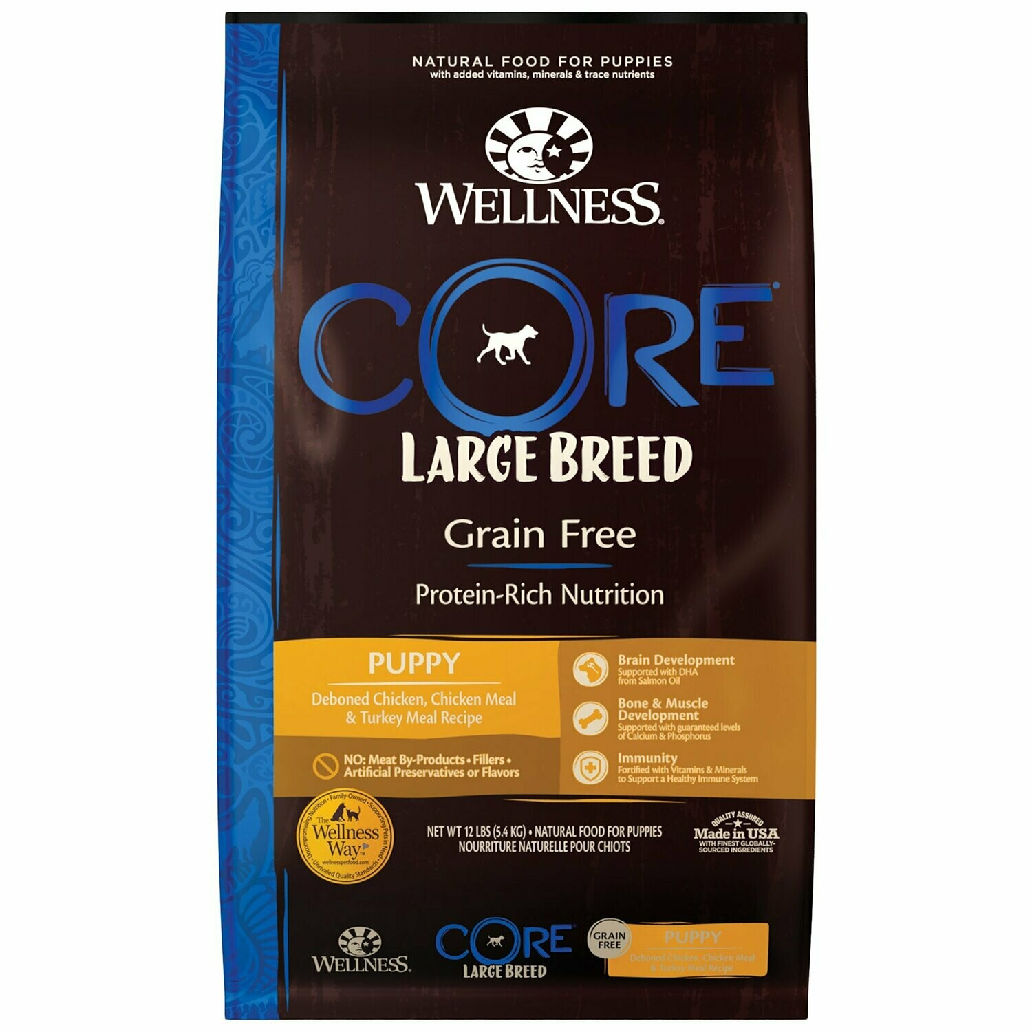 Wellness CORE Large Breed Natural Grain Free Deboned Chicken Dry Puppy Food, 12 lbs. (9/19) (A.K1)