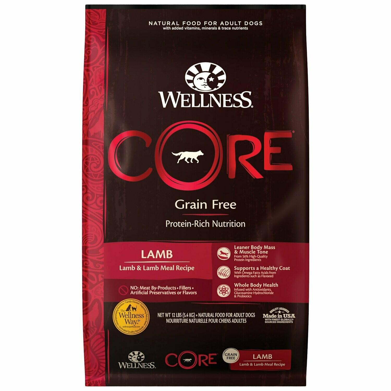 Wellness CORE Lamb Natural Grain Free Dry Dog Food, 12 lbs. (9/19) (A.E1)