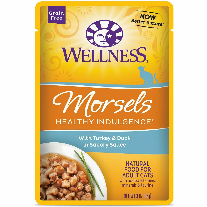 Wellness healthy Indulgence Natural Grain-Free Wet Cat Food Morsels Turkey & Duck Cat Food 3 OZ 12 count