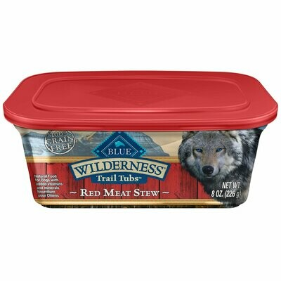 Blue Buffalo Wilderness Trail Tubs Grain Free Red Meat Stew Dog Food Tray 8 oz 8 count (3/19) (A.D1)