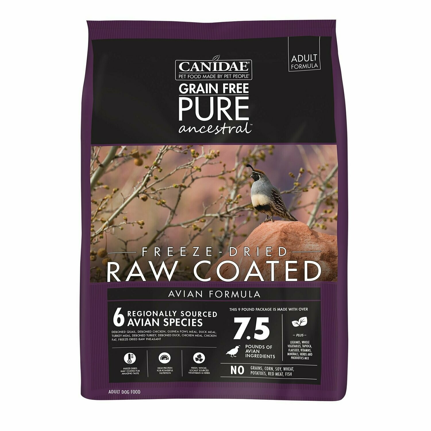 Canidae Pure Ancestral Raw Coated Avian Chicken, Turkey, Quail Dog Food 9lb
