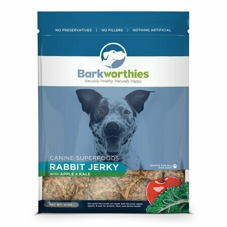 Barkworthies Rabbit Superfoods Jerky With Apple And Kale Dog Snacks 3 Ounces (8/19) (T.C12)
