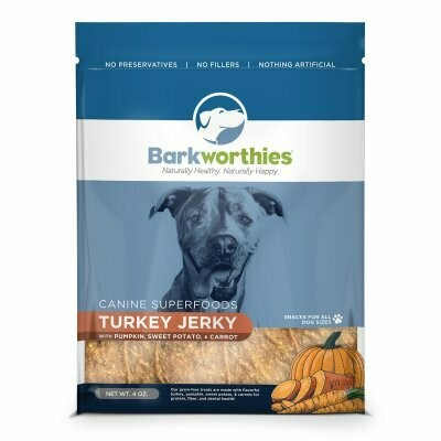 Barkworthies Superfoods Turkey Jerky With Pumpkin And Carrot Dog Snacks .4ounces (2/19) (T.C12)