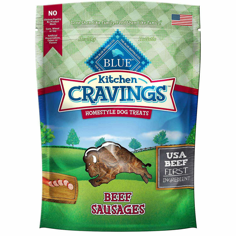 Blue Buffalo Kitchen Cravings Beef Sausage Recipe Dog Treats, 6 Oz (4/19) (T.C5)
