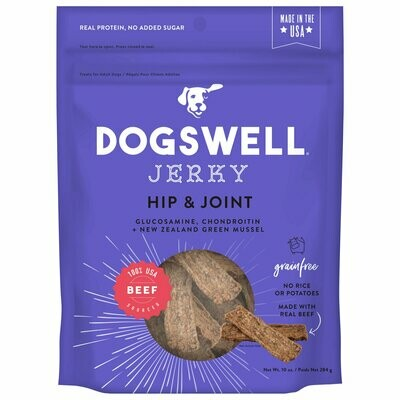 Dogswell Hip & Joint Jerky Grain-Free Beef for Dogs, 10 oz (7/19) (T.D8)