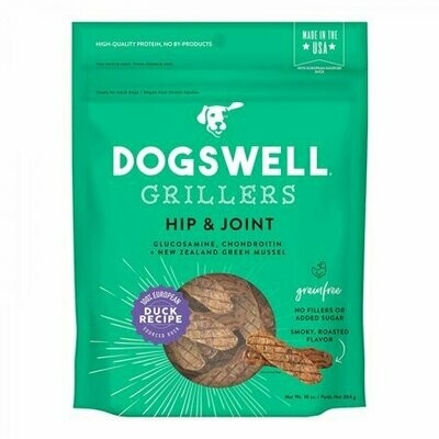 Dogswell Grillers hip and joint glucosamine/chondroitin and New Zealand green muscles duck recipe grain-free 10 ounces made in the USA for dogs (7/19)