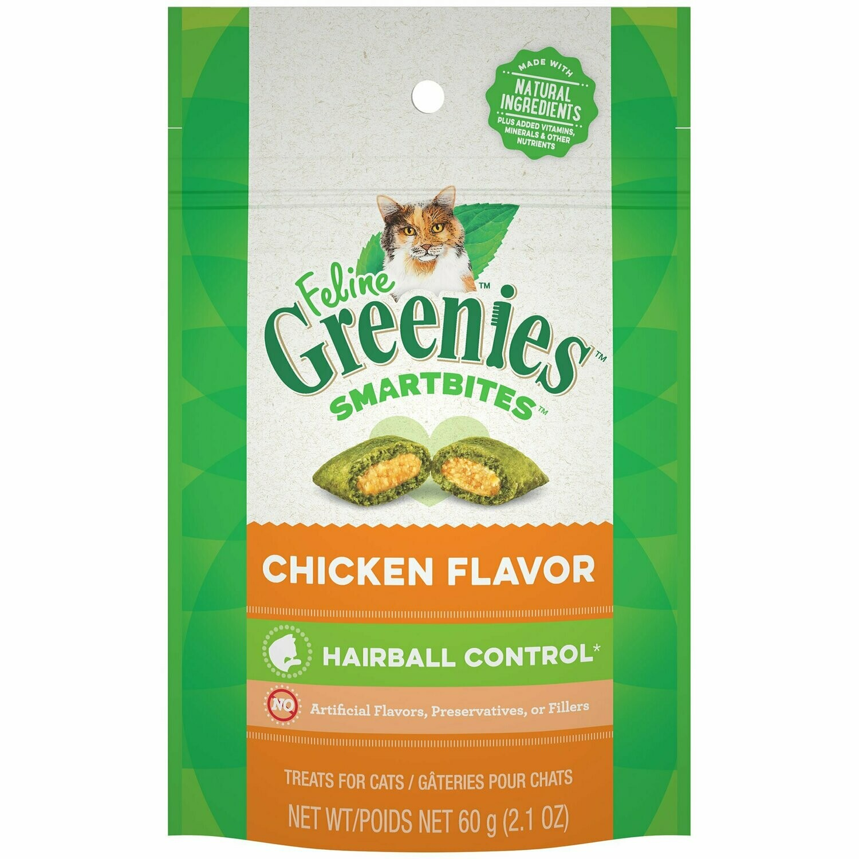 Feline Greenies Smartbites Chicken Flavored Hairball Control Cat Treats, 2.1 oz. (7/18) (T.C10