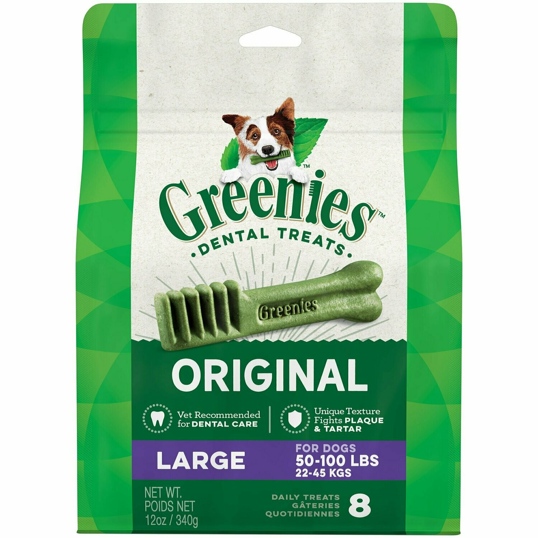 Greenies Dog Dental Chews Dog Treats - Large Size (50-100 Lb Dogs) 8 Treats 12 oz (7/19) (T.E13)