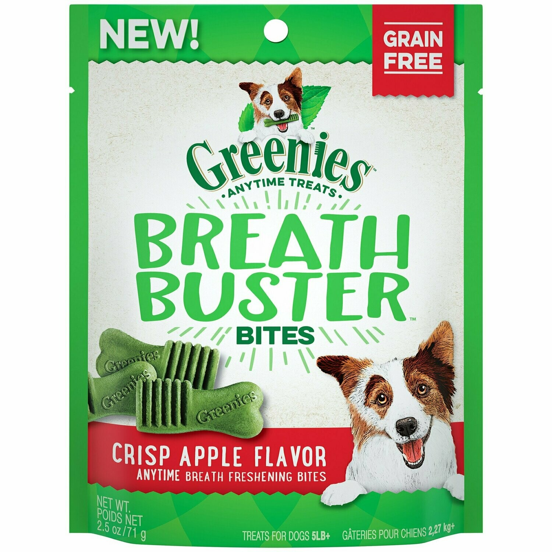 GREENIES BREATH BUSTER Bites Crisp Apple Flavor Treats for Dogs, 2.5 oz. (2/19) (T.C8)