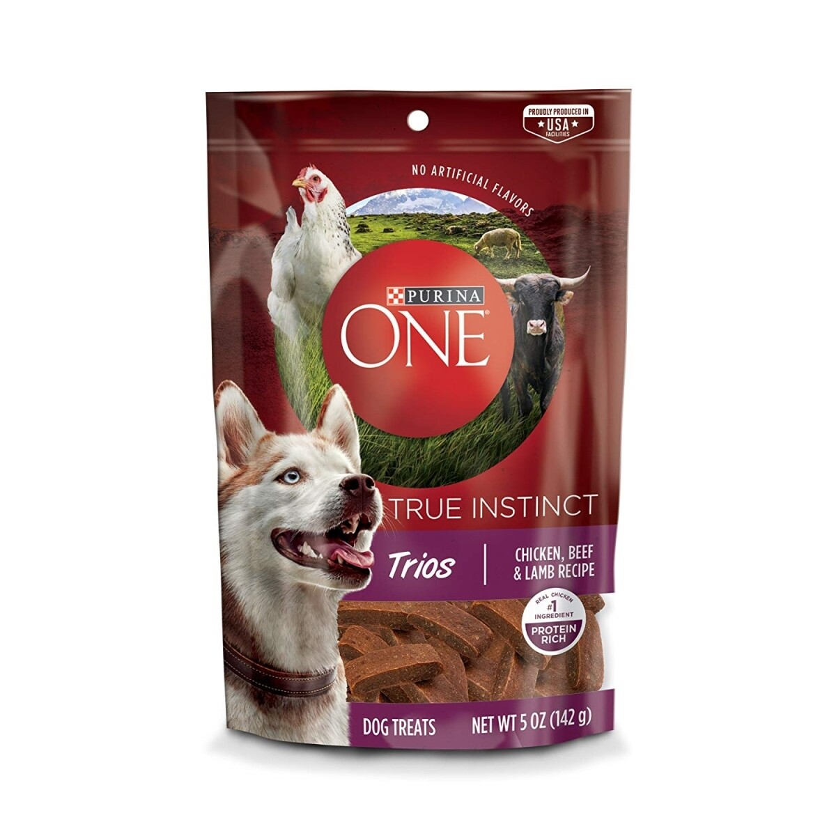 Purina ONE Dog Treats, True Instinct Trios Chicken, Beef & Lamb Recipe - 5 oz. (2/19) (T.F2)
