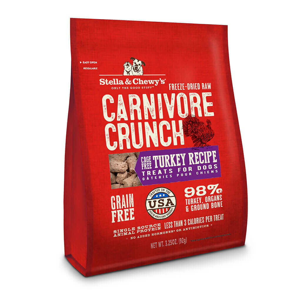 Stella & Chewy's Carnivore Crunch Turkey, Dog Treats 3.25 oz (2/20)  (T.F10)