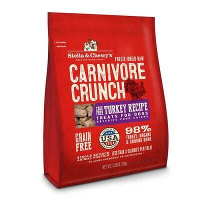 Stella & Chewy's Carnivore Crunch Turkey, Dog Treats 3.25 oz (2/20)  (T.F10)