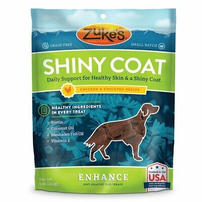 Zuke's Enhance Shinny Coat Chicken & Chickpea Recipe Dog Treats 5 oz (2/19) (T.D2-JD)