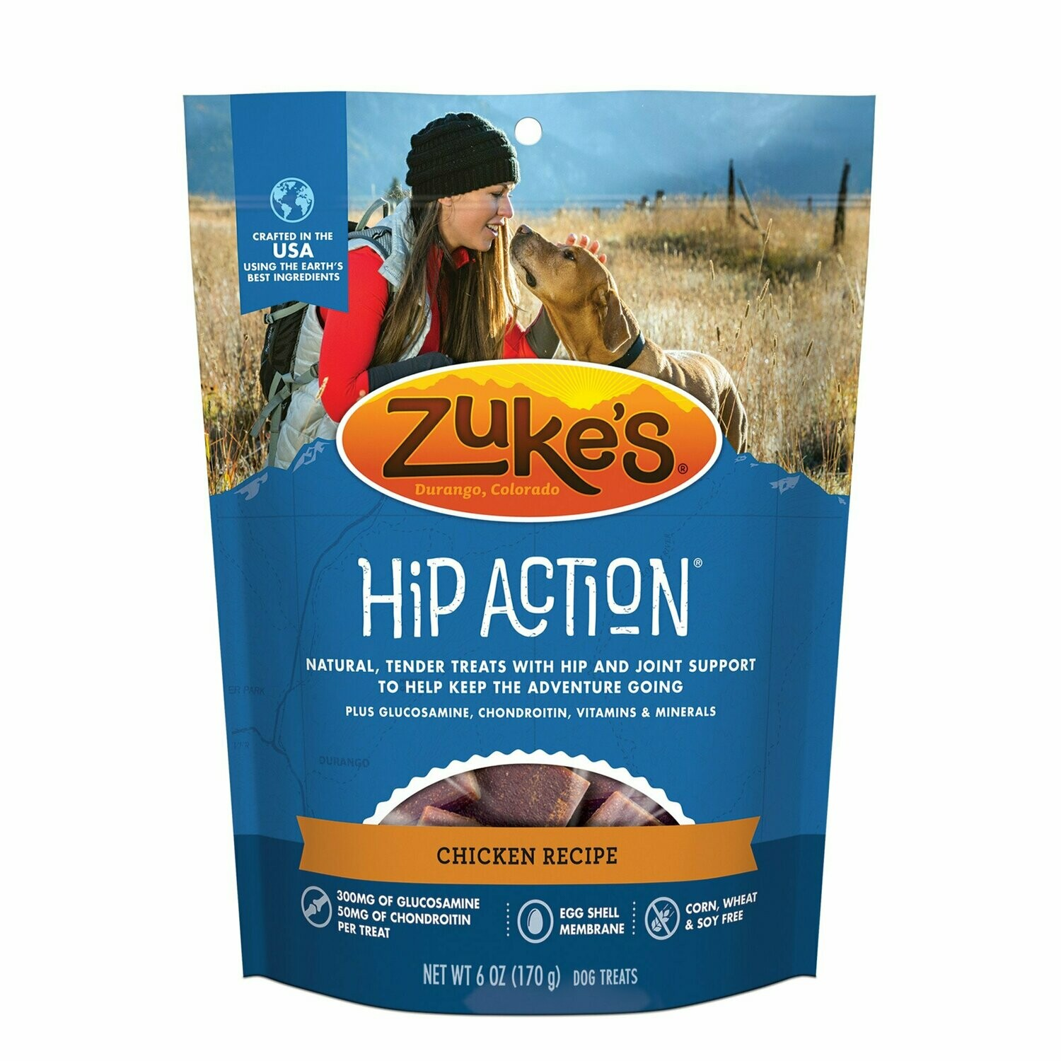 Zuke's Hip Action Hip & Joint Support Roasted Chicken Dog Treats, 6 oz. (12/19)