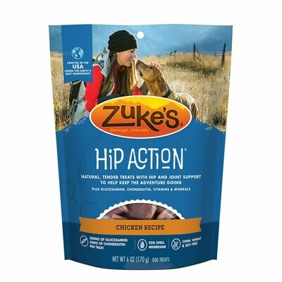Zuke's Hip Action Hip & Joint Support Roasted Chicken Dog Treats, 6 oz. (12/19) (T.B2)