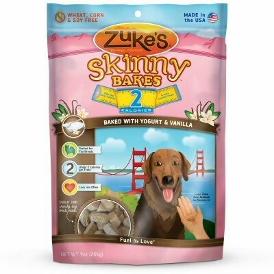 Zuke's Skinny Bakes 2 Calorie Dog Treats - Yogurt & Vanilla 9 oz (4/19) (T.B11)