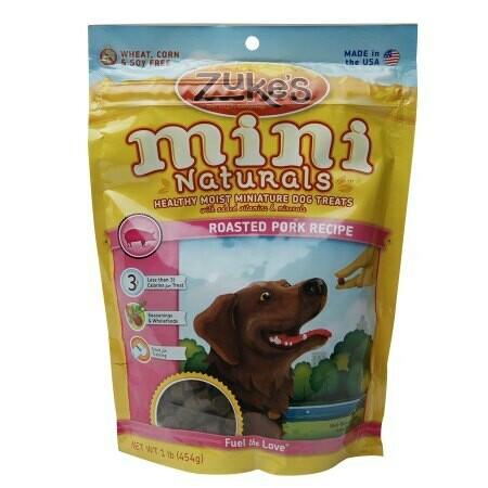 Zuke's Mini Naturals Healthy Miniature Treats for Dogs Roasted Pork 1 lbs (12/19) (T.D9-JD)