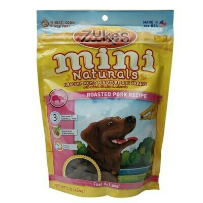 Zuke's Mini Naturals Healthy Miniature Treats for Dogs Roasted Pork 1 lbs (12/19) (T.D9-JD)