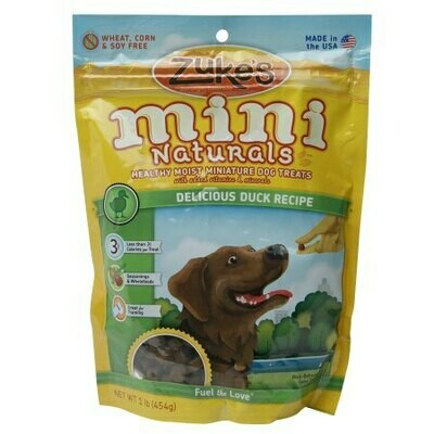 Zuke's Mini Naturals Healthy Training Dog Treats - Delicious Duck Recipe 1 lb. (12/19) (A.K3)