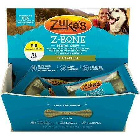 "Zuke's Z-bone dental chew natural grain-free with apples ""Mini"" 36 count 16.5 ounces (6/19)"