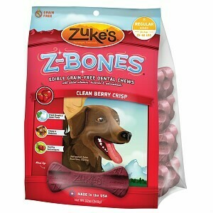 Zuke's Z bones Edible Grain-Free Clean Berry Crisp Regular Dog Dental Chews 8 Count (1/19) (T.B4-JD)
