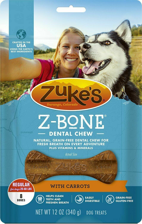 **BOGO** Zuke's Z-Bones Grain Free Edible Dental Chews Clean Carrot Crisp 8 count (8/19) (A.O1)