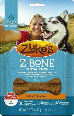 Zuke's Z-Bones Grain Free Edible Dental Chews Clean Carrot Crisp 8 count (8/19) (A.O1)