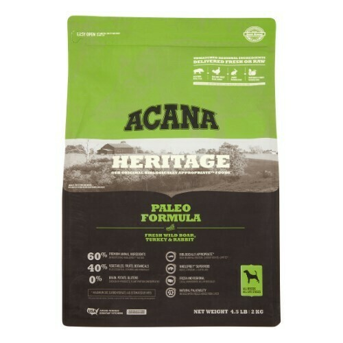 Acana Heritage Grain-Free Paleo Formula with Wild Boar, Turkey & Rabbit Dry Dog 4.5 lbs. (11/19)