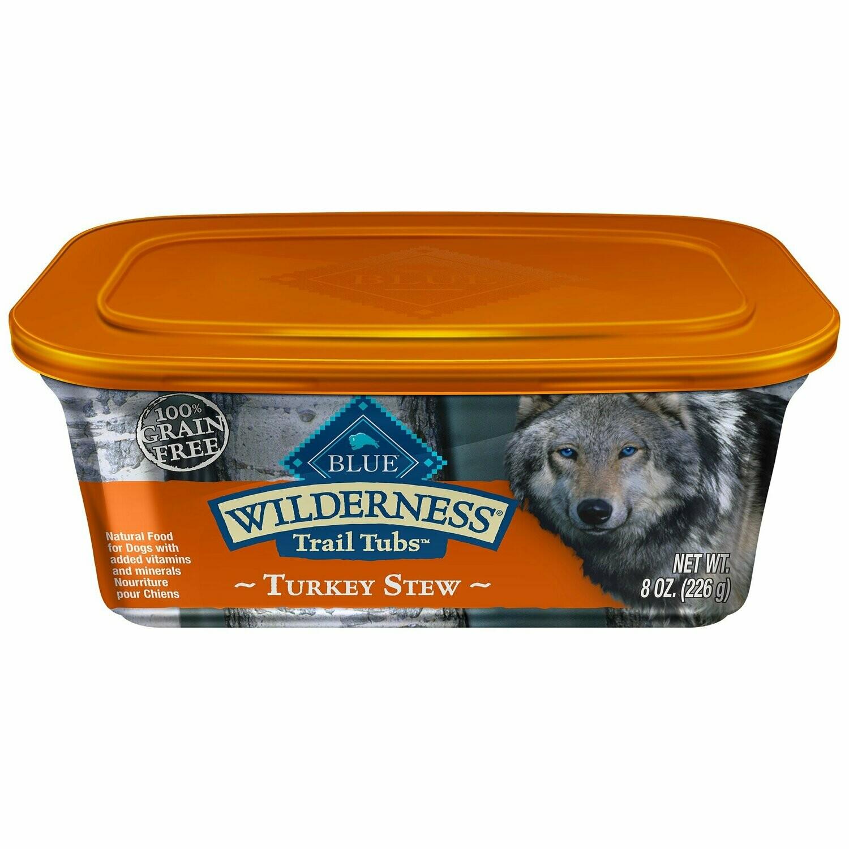 Blue Buffalo Blue Wilderness Trail Tubs Turkey Stew Wet Dog Food, 8 oz 8 count (2/19) (A.O5)