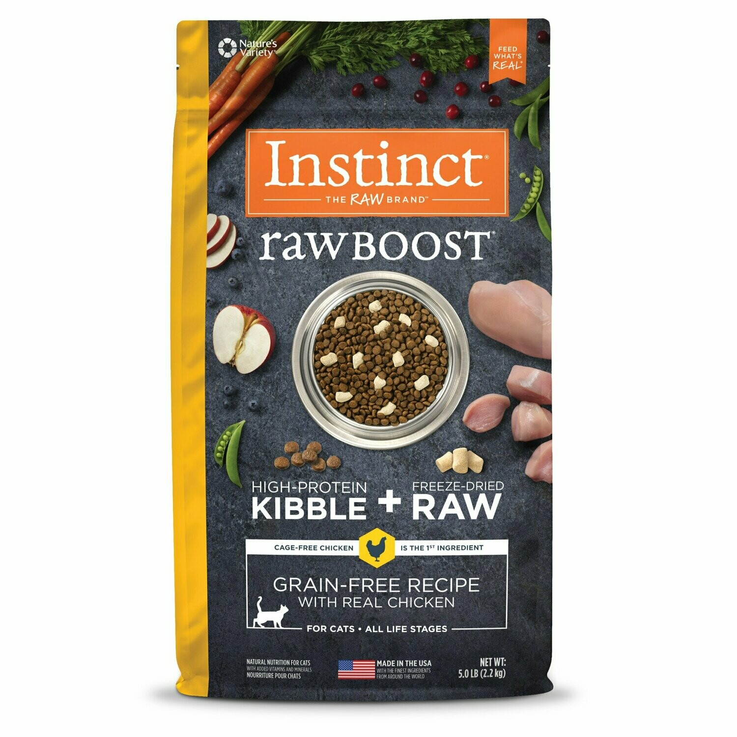 Instinct Raw Boost Grain Free Recipe with Real Chicken Dry Cat Food, 5 lbs. (2/20) (A.K2)