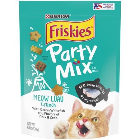 Friskies Party Mix Cat Treats, Meow Luau Crunch, Pork, Ocean Fish & Crab 6-ounce