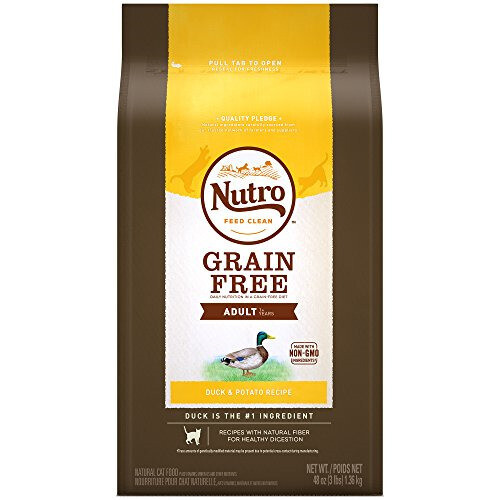Nutro Grain Free Adult Duck and Potato Recipe Dry Cat Food 3-lb (2/20) (A.J4)