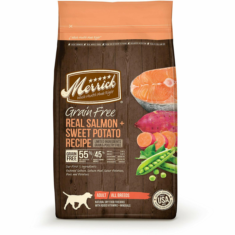 Merrick Grain-Free Real Salmon + Sweet Potato Recipe Dry Dog Food, 4 lb (1/20) (A.N1)