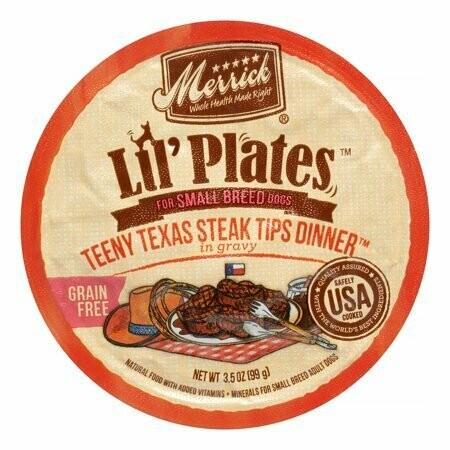 Merrick Lil Plates Grain-Free Teeny Texas Steak Tips 3.5 oz 12 count (2/20) (A.E2)