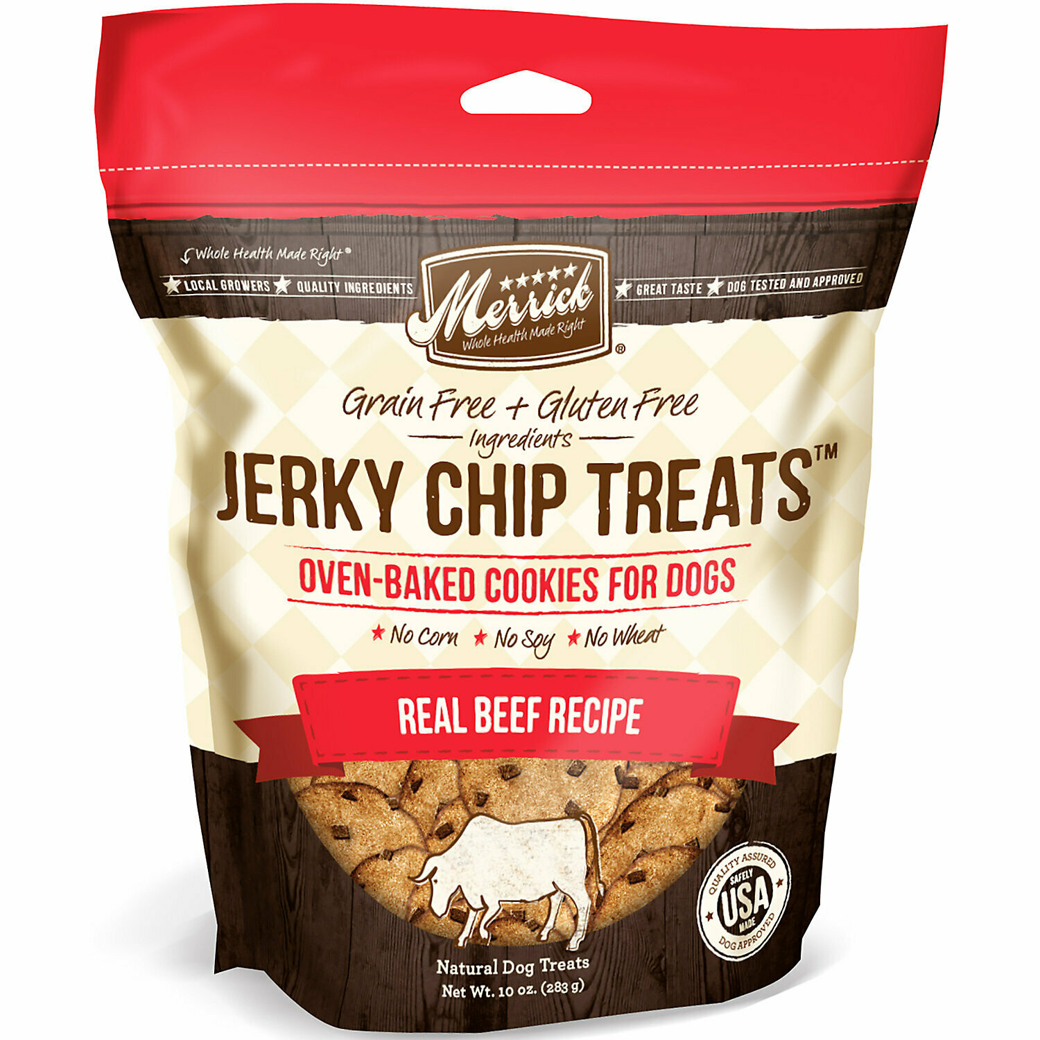 Merrick grain-free plus gluten-free ingredients jerky chip treats oven-baked cookies for dogs no corn and soy or wheat -  real beef recipe 10 ounces (6/19)