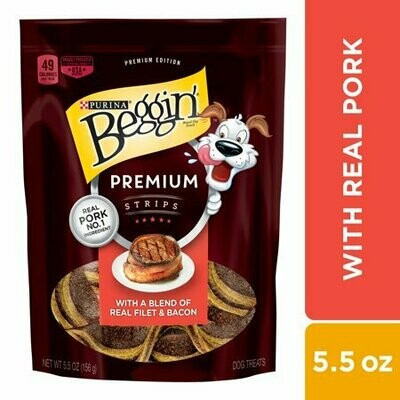Purina Beggin' Black Label Real Pork Dog Snack 5.5 oz. Pouch (11/19) (A.B4)