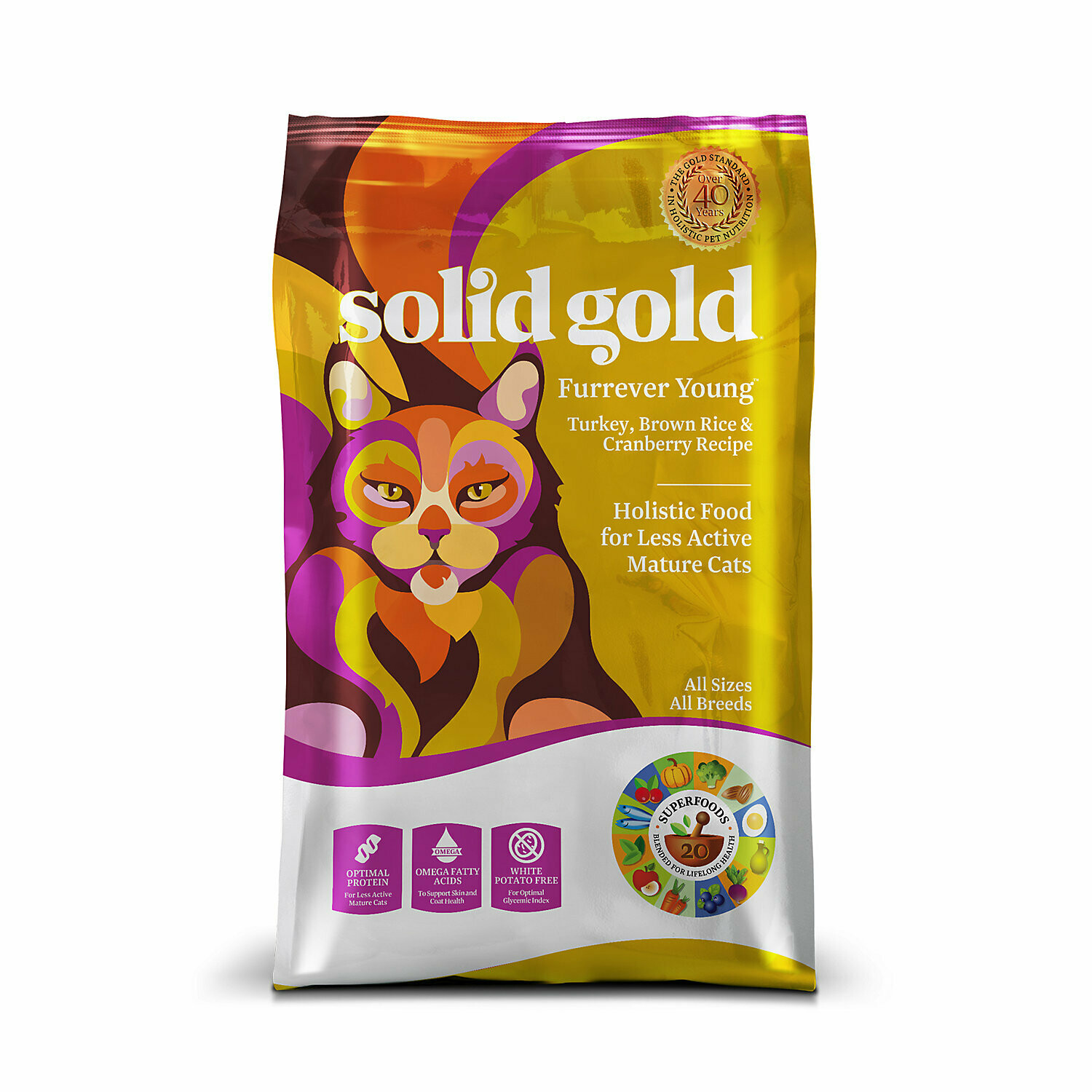 SOLID GOLD FURREVER YOUNG TURKEY, BROWN RICE & CRANBERRY SENIOR CAT FOOD 4 LBS (9/18) (A.J4)