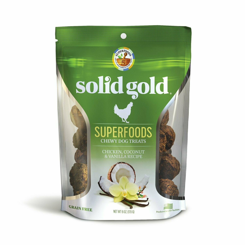 5 FUR $1 Solid Gold Grain Free Chicken, Coconut & Vanilla Natural Dog Treats, 6 oz. (2/19) (T.F10)