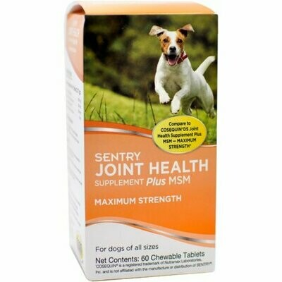 Sentry Joint Health Supplement Plus MSM Maximum Strength 60 chewable tablets (4/19) (O.B1/AA3)