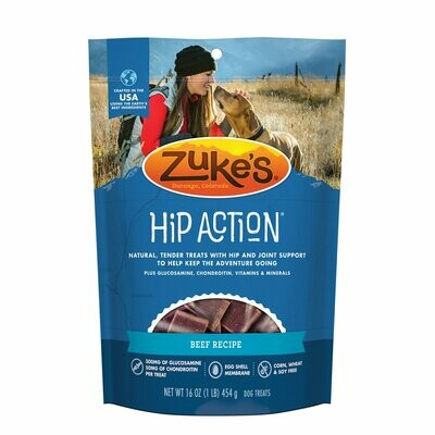Zuke hip action natural tender treats with hip and joint support plus glucosamine constraints and vitamins and minerals beef recipe 16 ounces (12/19) SINGLES