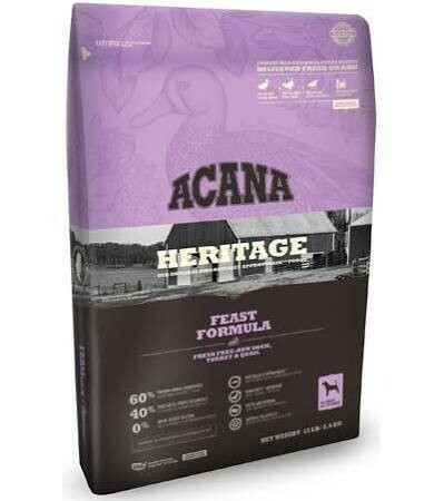 ACANA heritage feast formula fresh duck turkey and quail 12 ounces all breed all life stages for dogs grain-free  (11/19)