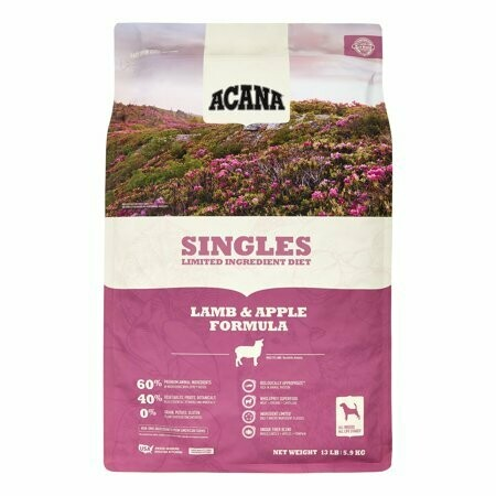 """500 LBS.  - SUPER """"BULK"""" DEAL - SAVE  $67.99 Per Bag OFF Retail! ACANA Singles  with grass-fed Kentucky lamb and delicious red apples for dogs 25 pounds 20 bags (10/19)"""
