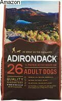 Adirondack 26% protein active recipe for adult dogs no corn, no soy, no wheat 15 pounds pork meal chicken rice chicken meal oats ground grain sorghum (7/19)