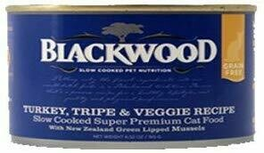Blackwood slow-cooked pet nutrition Turkey tripe and veggie recipe slow-cooked superpremium cat food with New Zealand the screen lipid mussels 6.52 ounces 24 count (6/19)