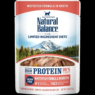 Natural balance white fish formula in broth for cats high-protein 2.5 ounce pouches 24 count (10/19)